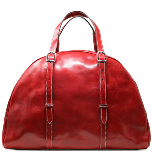 Leather Duffle Travel Bag Carryon Overnighter Gym Bag Floto Duomo red