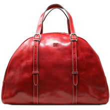 Load image into Gallery viewer, Leather Duffle Travel Bag Carryon Overnighter Gym Bag Floto Duomo red monogram