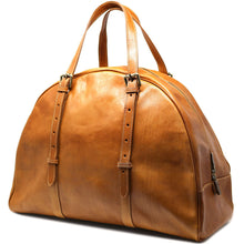 Load image into Gallery viewer, Leather Duffle Travel Bag Carryon Overnighter Gym Bag Floto Duomo tobacco brown 2