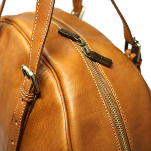 Leather Duffle Travel Bag Carryon Overnighter Gym Bag Floto Duomo tobacco brown 3