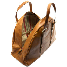 Load image into Gallery viewer, Leather Duffle Travel Bag Carryon Overnighter Gym Bag Floto Duomo tobacco brown 6
