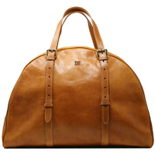 Load image into Gallery viewer, Leather Duffle Travel Bag Carryon Overnighter Gym Bag Floto Duomo brown tobacco monogram