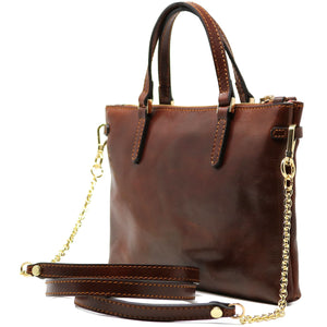 Leather Crossbody Bag Floto Sesto Italian Women's Bag brown side
