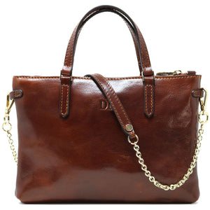 Leather Crossbody Bag Floto Sesto Italian Women's Bag brown monogram