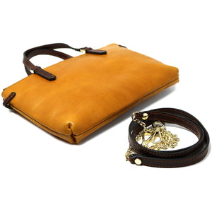 Leather Crossbody Bag Floto Sesto Italian Women's Bag yellow strap