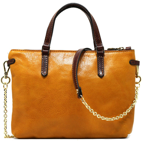 Leather Crossbody Bag Floto Sesto Italian Women's Bag yellow