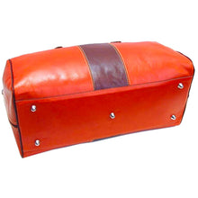 Load image into Gallery viewer, Leather Duffle Bag Orange and Brown