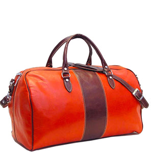 Leather Duffle Bag Orange and Brown