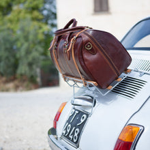 Load image into Gallery viewer, Floto Italian Leather Venezia Duffle Travel Bag Luggage brown fiat 500