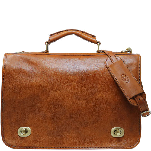 Floto Italian Leather Messenger Bag Briefcase Crossbody Roma brown tobacco