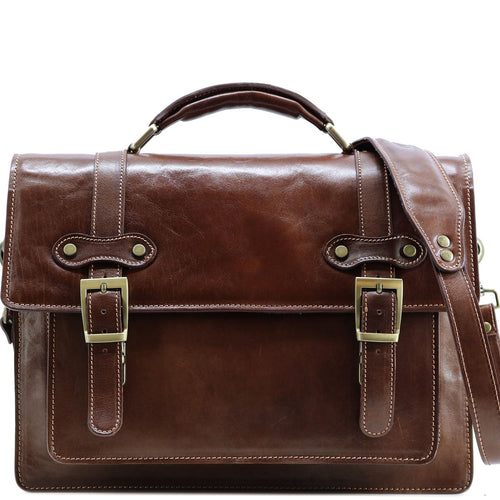 Italian Leather Messenger Bag Floto Trastevere Roller Buckle Briefcase Brown
