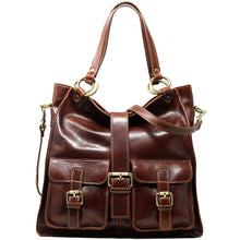 Load image into Gallery viewer, Floto Italian Leather Shoulder Tote Bag Women's Livorno brown