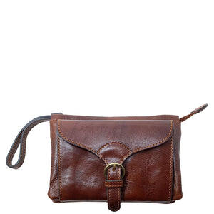 Italian leather wristlet crossbody women's shoulder bag floto ponza brown