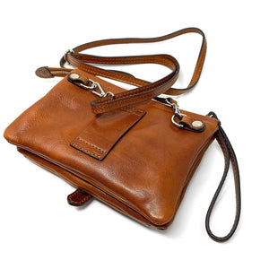 Italian leather wristlet crossbody women's shoulder bag floto ponza olive honey brown 2