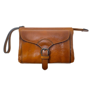 Italian leather wristlet crossbody women's shoulder bag floto ponza olive honey brown