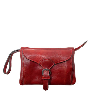 Italian leather wristlet crossbody women's shoulder bag floto ponza red