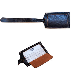 blue leather luggage tag floto