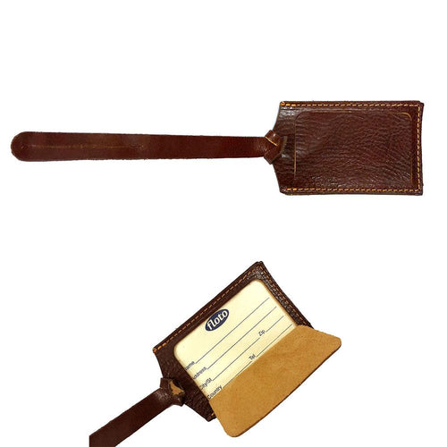 Vecchio Brown leather luggage tag floto