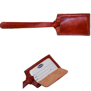 red leather luggage tag floto