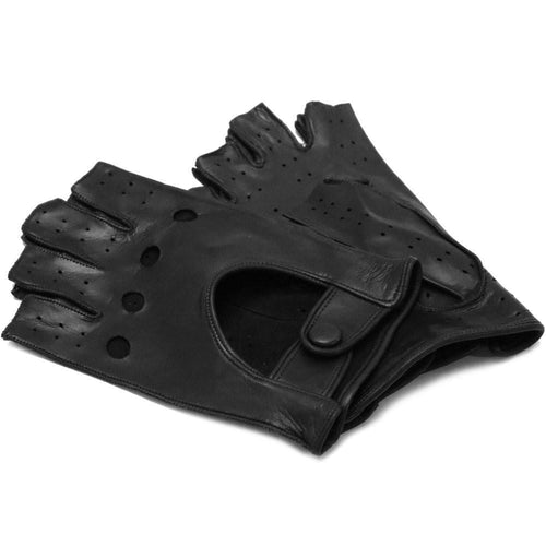 Floto men's black leather fingerless driving gloves