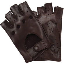 Load image into Gallery viewer, Floto men's brown leather fingerless driving gloves