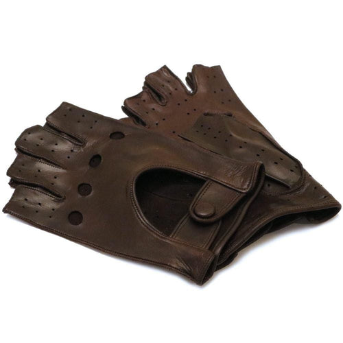 Floto men's brown leather fingerless driving gloves