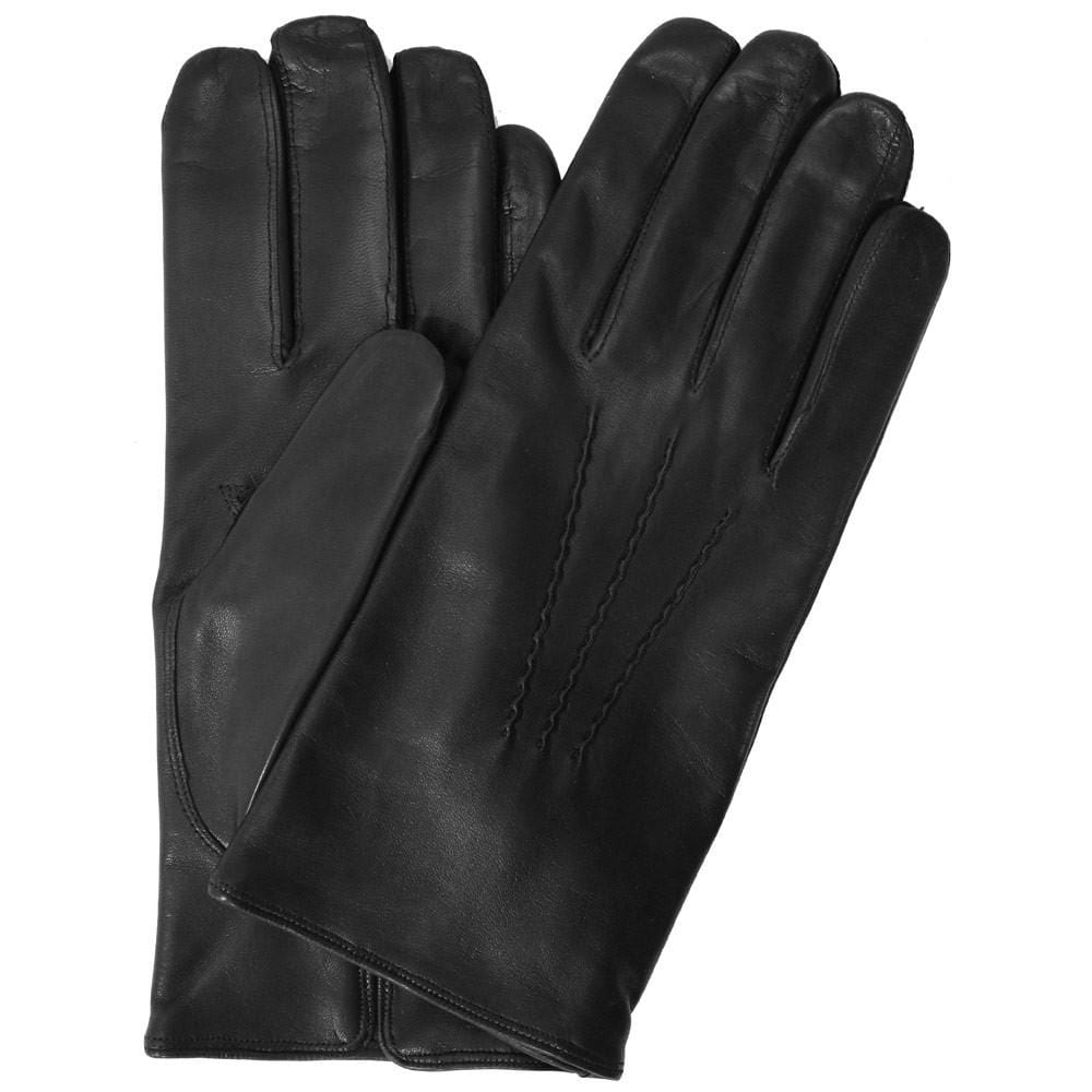 Floto men's cashmere lined black leather gloves
