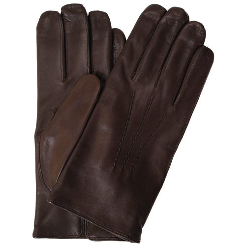 Floto men's cashmere lined brown leather gloves