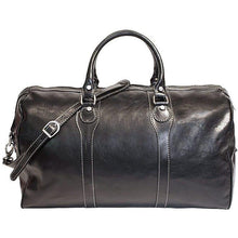 Load image into Gallery viewer, Floto Italian Milano Leather Duffle Bag Carry On Suitcase black