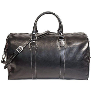 Floto Italian Milano Leather Duffle Bag Carry On Suitcase black