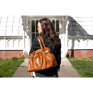 leather shoulder bag floto milano brown