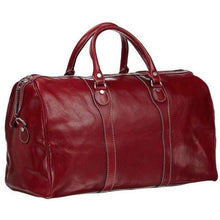 Load image into Gallery viewer, Floto Italian Milano Leather Duffle Bag Carry On Suitcase red
