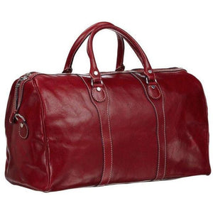Floto Italian Milano Leather Duffle Bag Carry On Suitcase red