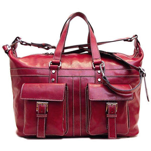 Floto Milano Italian Leather Travel Bag Weekender Suitcase red
