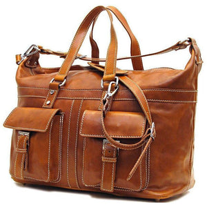 Floto Milano Italian Leather Travel Bag Weekender Suitcase olive brown