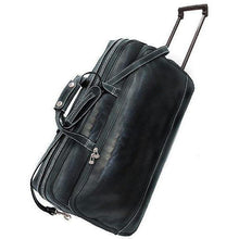 Load image into Gallery viewer, Floto Milano Italian leather rolling luggage duffle travel bag black