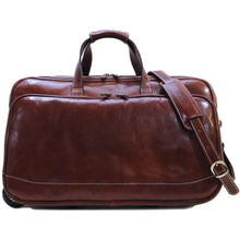 Load image into Gallery viewer, Floto Milano Italian leather rolling luggage duffle travel bag brown