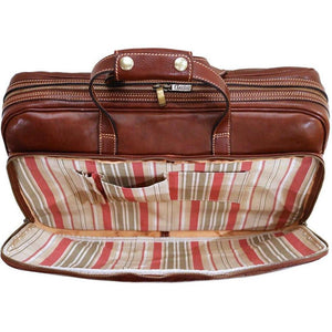 leather rolling luggage floto brown