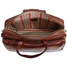 Load image into Gallery viewer, leather rolling luggage floto brown