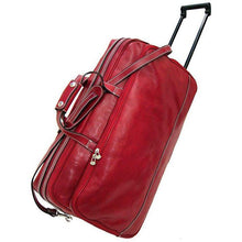 Load image into Gallery viewer, Floto Milano Italian leather rolling luggage duffle travel bag red