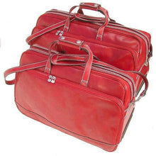 Load image into Gallery viewer, Floto Milano Italian leather rolling luggage duffle travel bag 2