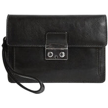 Load image into Gallery viewer, Floto Italian Leather Milano Wristlet Women's Handbag Clutch black
