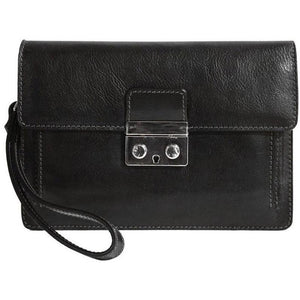 Floto Italian Leather Milano Wristlet Women's Handbag Clutch black