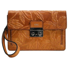 Load image into Gallery viewer, Leather Wristlet Handbag Floto Milano Fiore monogram brown