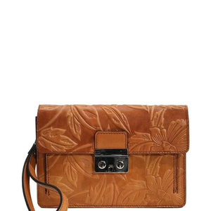 Floto Italian Leather Milano Wristlet Women's Handbag Clutch fiore brown
