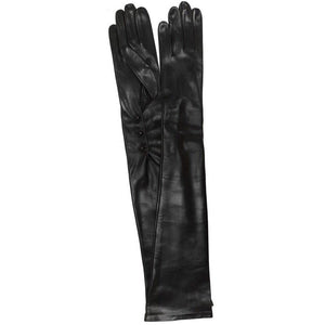black formal leather opera gloves floto