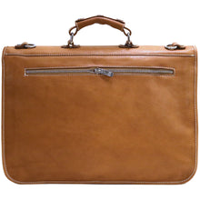 Load image into Gallery viewer, Floto Italian leather messenger bag briefcase Parma brown men's monogram 3