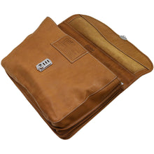 Load image into Gallery viewer, Floto Italian leather messenger bag briefcase Parma brown men's monogram 4