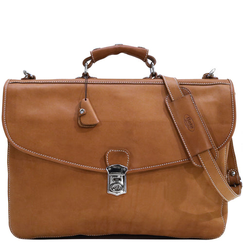 Floto Italian leather messenger bag briefcase Parma brown men's 1