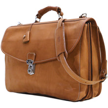 Load image into Gallery viewer, Floto Italian leather messenger bag briefcase Parma brown men's monogram 2